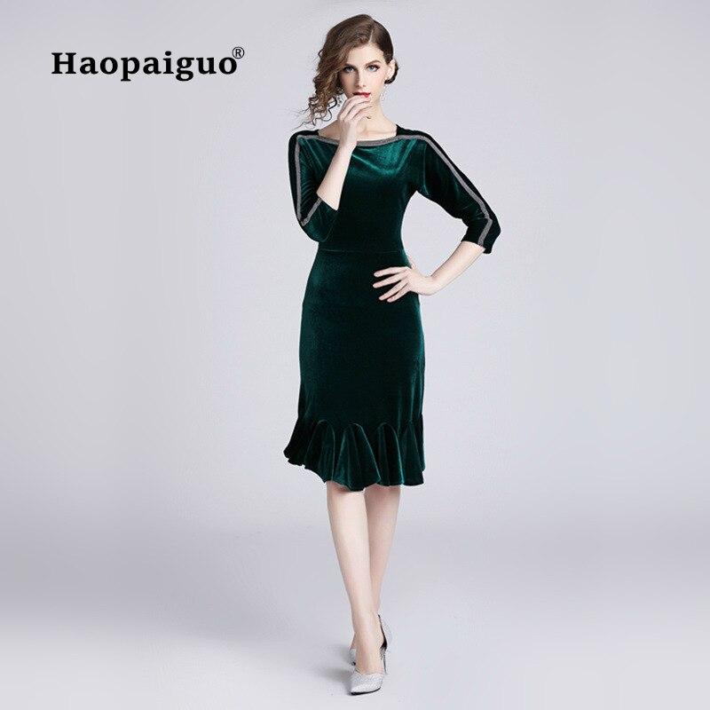 2018 Autumn Green Gold Velvet Dress Women O-neck Half Sleeve Trumpet Vintage Elegant Plus Size XXL Robe Femme Ete