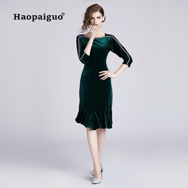 2018 automne vert or velours Robe femmes o-cou demi manches trompette Vintage femmes Robe élégante grande taille XXL Robe Femme Ete