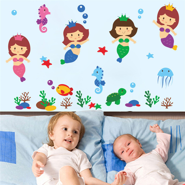 Lovely Little Mermaid Swimming Wall Stickers For Girls Room Decorations  Cartoon Mural Art Diy Home Decals