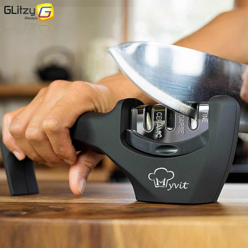Knife Sharpener 3 Stages Professional Kitchen Sharpening Stone Grinder knives Whetstone Tungsten Diamond Ceramic Sharpener Tool
