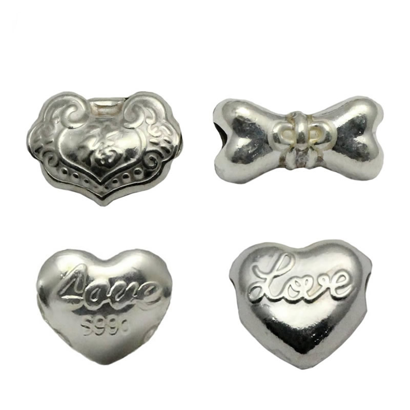 Beadsnice wholesale charm beads 925 sterling silver big hole spacer beads DIY bracelet components ID33999