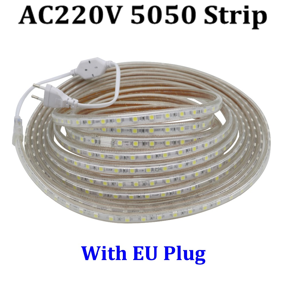 Led Strip 6m Us 3 78 Smd 5050 Ac 220v Led Strip Flexible Light 1m 2m 3m 4m 5m 6m 7m 8m 9m 10m 15m 20m Power Plug 60leds M Ip67 Waterproof Led Light In Led