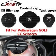 RASTP-Oil Filler Cap/Coolant Cap /Tank Cover for Volkswgen CC Scirocco Engine Aluminum Protect with Logo RS-CAP010