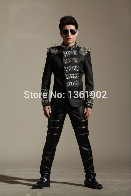 Men Plus панк өнімі жұқа пиджак моншақ - Ерлерге арналған киім - фото 4