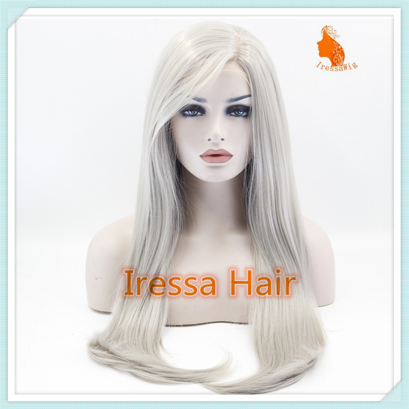 White Grey Color Hand Tied Synthetic Lace Front Wigs Glueless Futura Heat  Resistant Straight Fashion Lace Front Party Wig 892938a717d9