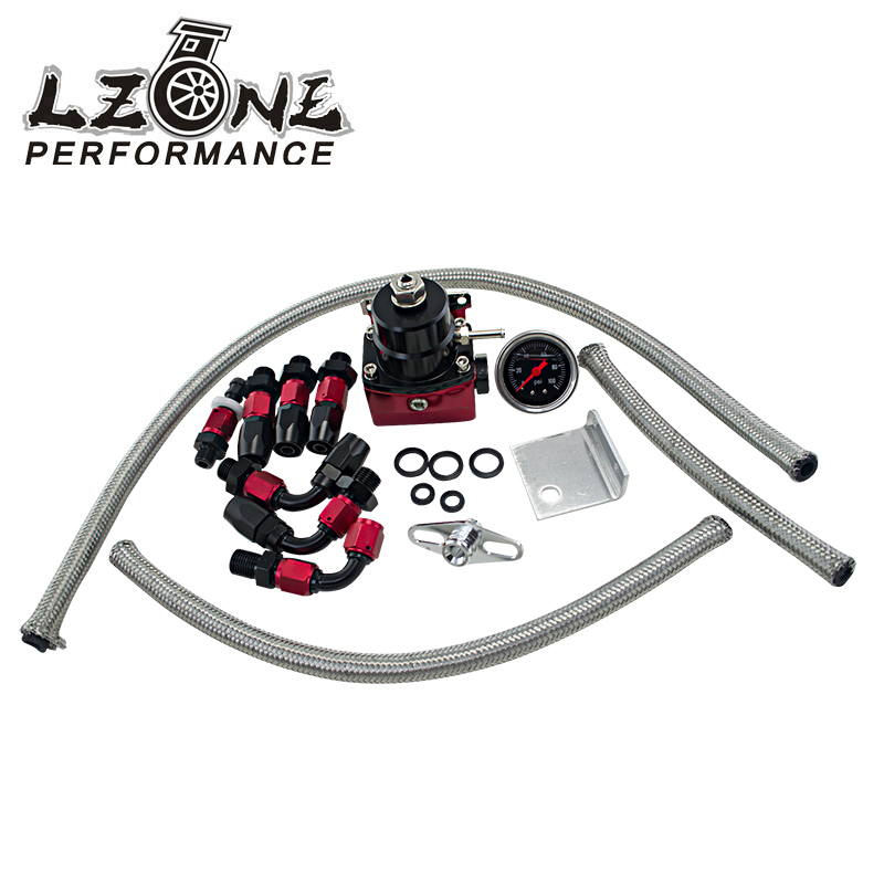 LZONE - Universal Adjustable fuel pressure regulator FRP Fuel Pressure Regulator with 100psi Gauge, AN6 hose,Fitting Adapter lzone racing black aluminium fuel surge tank with cap foam inside fuel cell 40l without sensor jr tk21bk