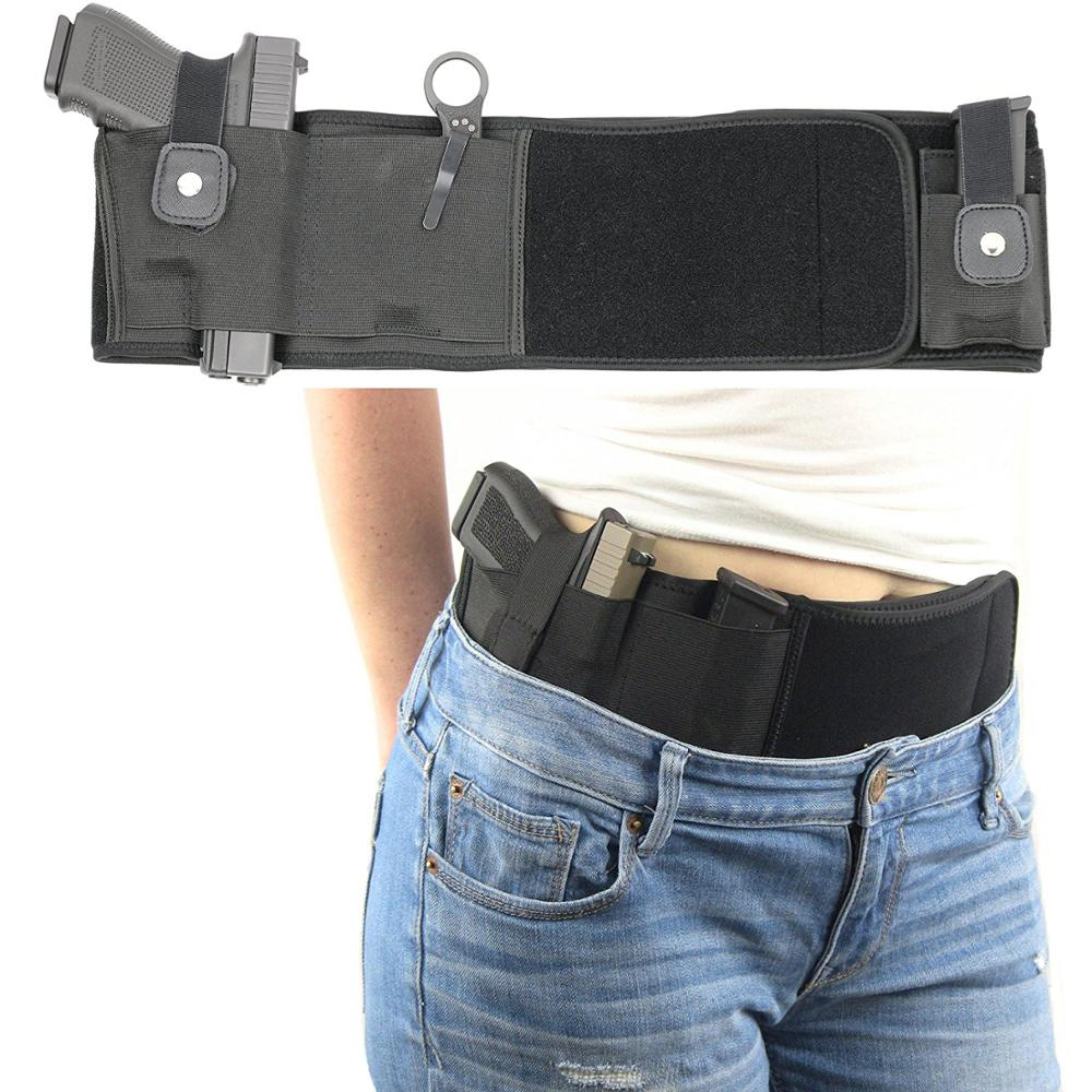 Tactical Belly Band Gun Holster For Concealed Carry Fit Mid Full Size Compact Subcompact Revolver Glock Hunting Handgun Pistol