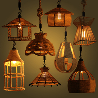 Many Types American Country Hemp Rope Pendant Lamp Clothing Store Cafe Restaurant Lamp Loft Single Head