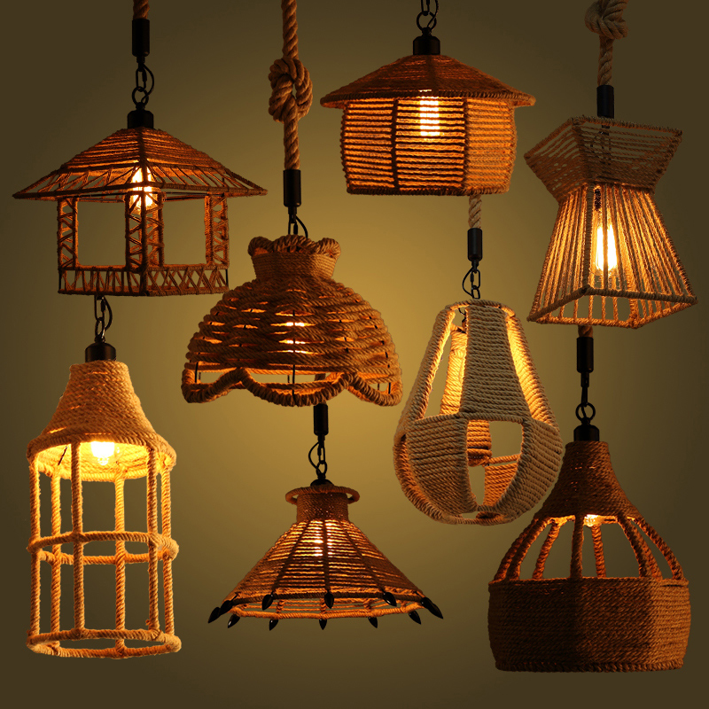 Many Types American Country Hemp Rope Pendant Lamp Clothing Store Cafe Restaurant Lamp Loft Single Head Droplight nordic american country retro restaurant cafe lighting fixtures hemp rope creative personality artistic single head pendant lamp