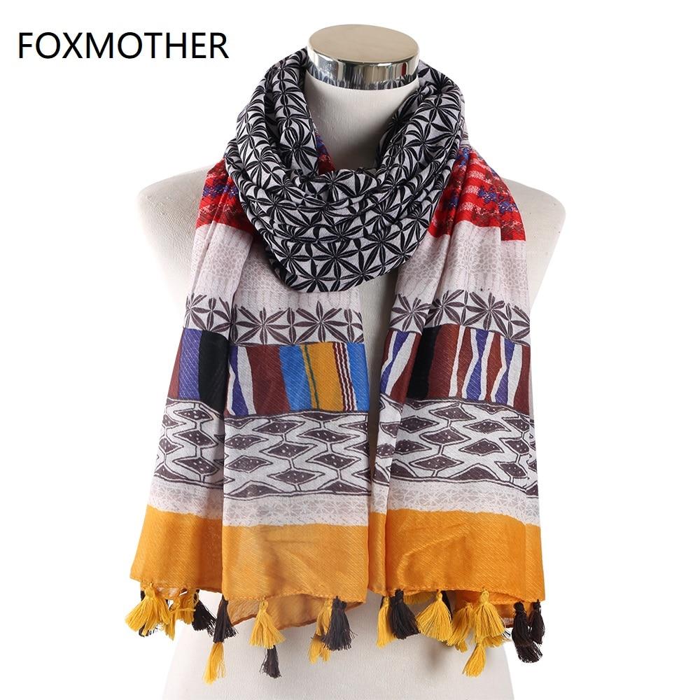 FOXMOTHER New Brand Bohemian Autumn Winter Geometric Scarf Hijab Scarves Foulard femme Wraps Tassel Scarves Women in Women 39 s Scarves from Apparel Accessories