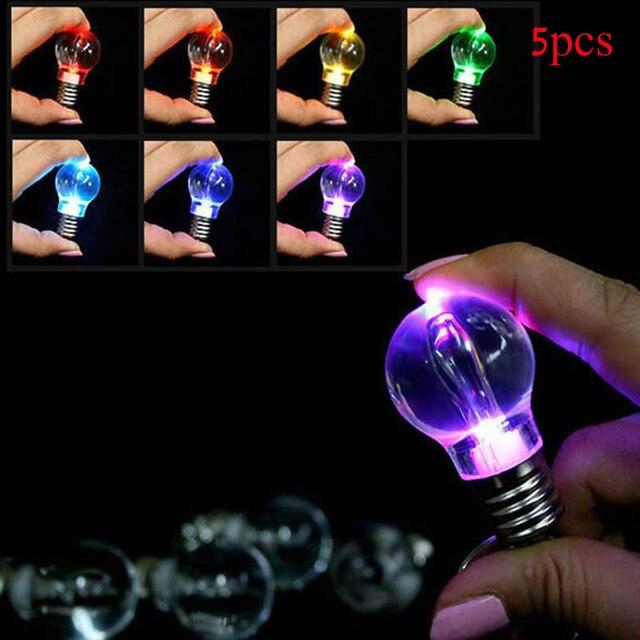 5pcs Bulb Key Chains Colorful Light Ring Keychain Lamp Torch Bag Keyring Men Car Holders