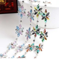 Rhinestone Cupchain Colorful Acryl Leaf Silver Base Apparel Sewing Style Diy Beauty Accessories Crystal Cup Chain