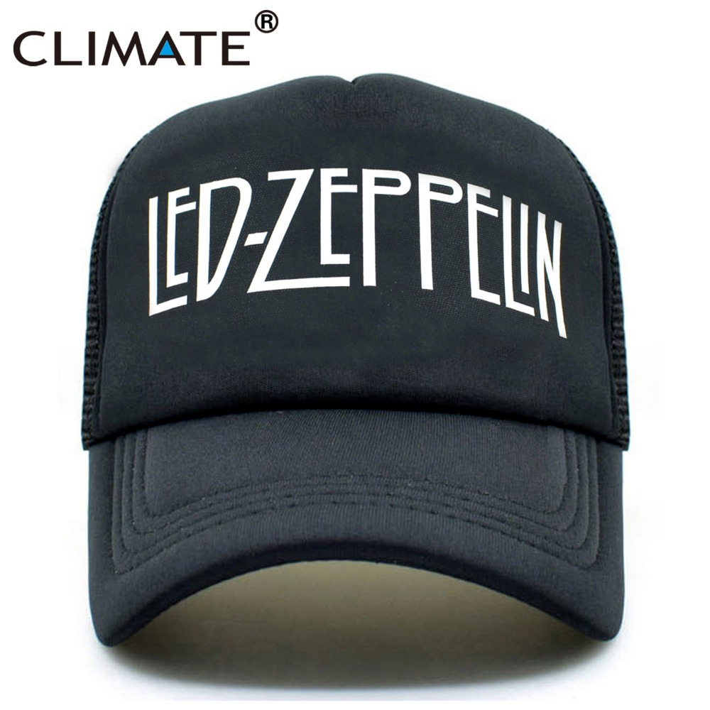 CLIMATE Men Women Trucker Caps Led Zeppelin Rock Summer Trucker Mesh Caps Hat Fans Cool Summer Baseball Net Trucker Caps Hat