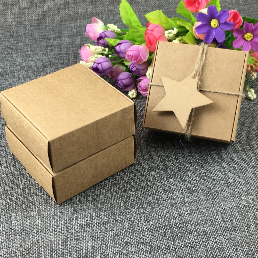 100PCS 75x75x30mm Kraft Packaging Boxes Brown Gift Box Blank Storage Box For Jewelry Gift Craft Candy
