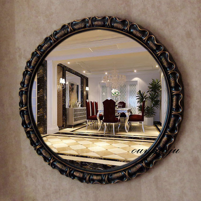 Large Decorative Cosmetic Antique Wall Bathroom Mirror With Frame Vintage Round Wedding Gift