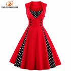 Save 3.9 on S-4XL Women Robe Pin Up Dress Retro 2017 Vintage 50s 60s Rockabilly Dot Swing Summer female Dresses Elegant Tunic Vestido