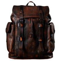 Роскошные мужские кожа коровы рюкзак мужская сумка темно коричневый простой военный Стиль