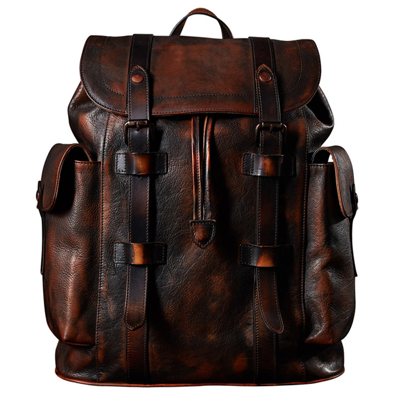Luxury Mens Cow Leather Backpack Mens Bag Dark Brown Simple Military Style| Backpacks| - AliExpress