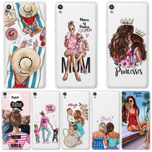 Fashion Black Brown Hair Case For Sony Xperia XZ 2XA XZ3 XA1 E5 X Ultra Plus Compact Coque For Sony Xperia 10 Case Baby Mom Girl(China)