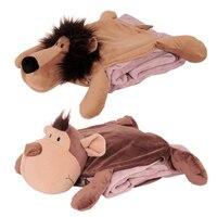 Candice guo peluş oyuncak dolması bebek sevimli hayvan anime karikatür aslan kaplan zürafa maymun fil yastık yastık battaniye yorgan 1 adet