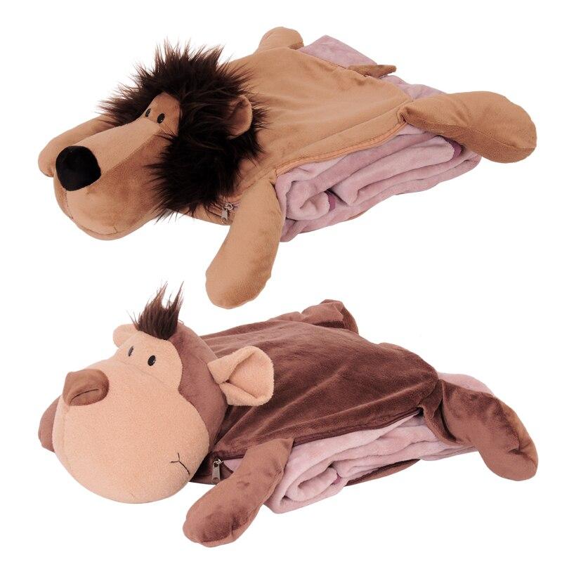 Candice guo peluche peluche poupée mignon animal anime dessin animé lion tigre girafe singe éléphant oreiller coussin couverture couette 1 pc