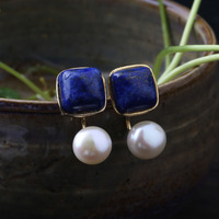 Natural lapis lazuli freshwater pearls front and rear earrings