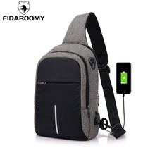 Men Chest Bags USB Charging Waterproof Oxford Crossbody Small Sling Single Shoulder Travel Pack Male