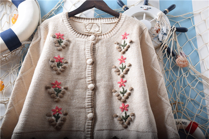 3d547079253ea Vintage Forest Mori Girl Manual Hook Flower Embroidery Jacquard Knit  Cardigan Sweet Lolita Sweater Coat Women Tops Autumn Winter