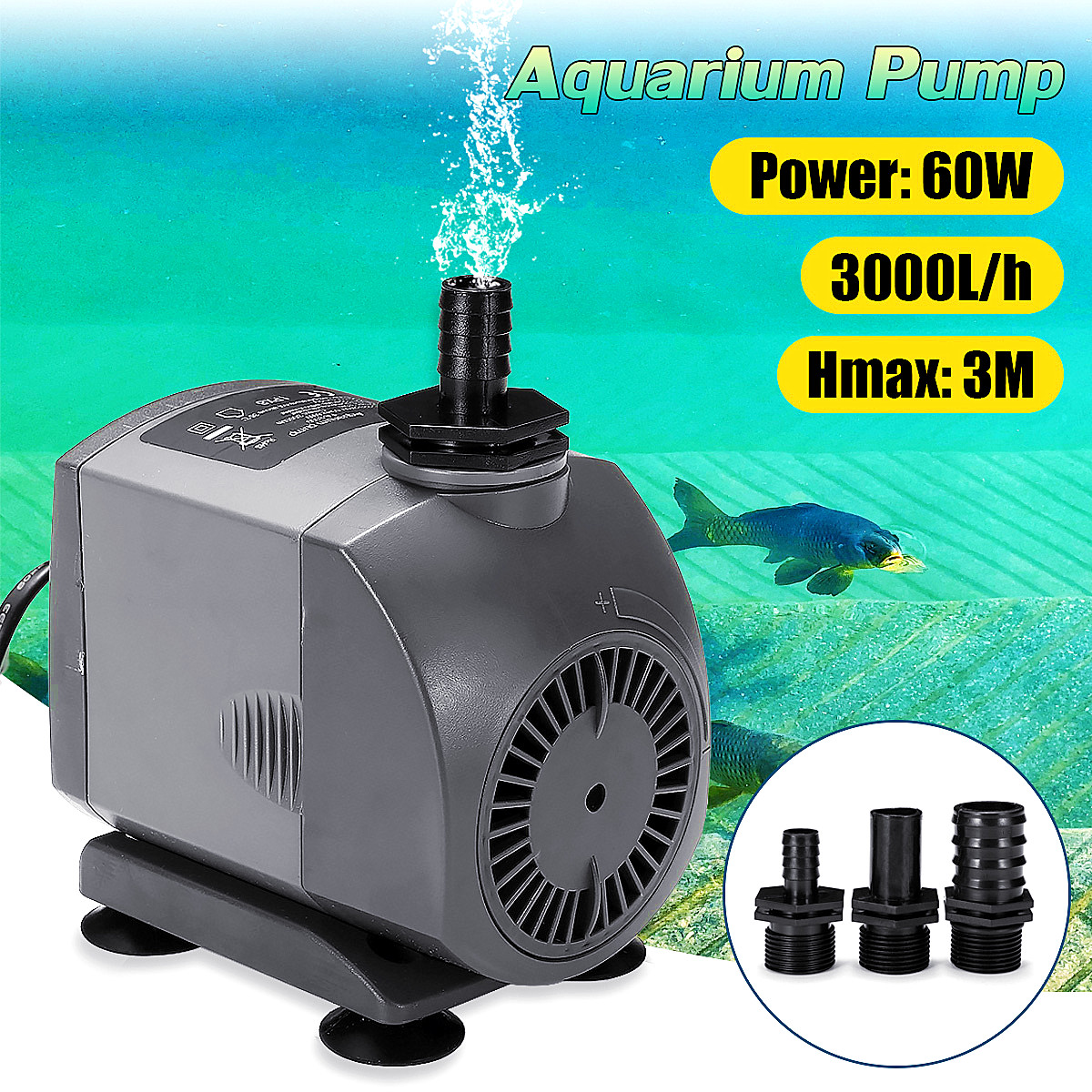 60W 220V Submersible Ultra Quiet Water Pump for Waterfall Filter Fish Ponds 3 Nozzles 2M Power Cord Fish Tank Fountain Filter все цены