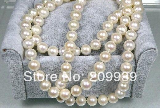 Livraison gratuite 003308 Magnifique 8.5-9mm AAA + Rond Blanc Crème Akoya Perle Collier 14 Solide Or 35