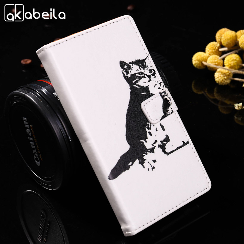AKABEILA Butterfly Dog Cat PU Leather Flip Cases For Asus Zenfone 3 Max ZC553KL ASUS X00DD X00DDA XOODD Zenfone3 Max 5.5 Cover