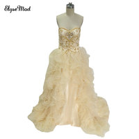 2018 New Style Gold Sexy Lace Appliques Crystal Beading Sweetheart Long Formal African Evening Prom Dresses Gowns
