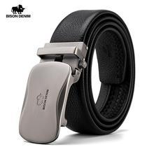 بيسون دينم حزام جلد طبيعي للرجال حزام أتوماتيكي حزام فاخر عالي الجودة حزام أسود أنيق للرجال ماركة N71483