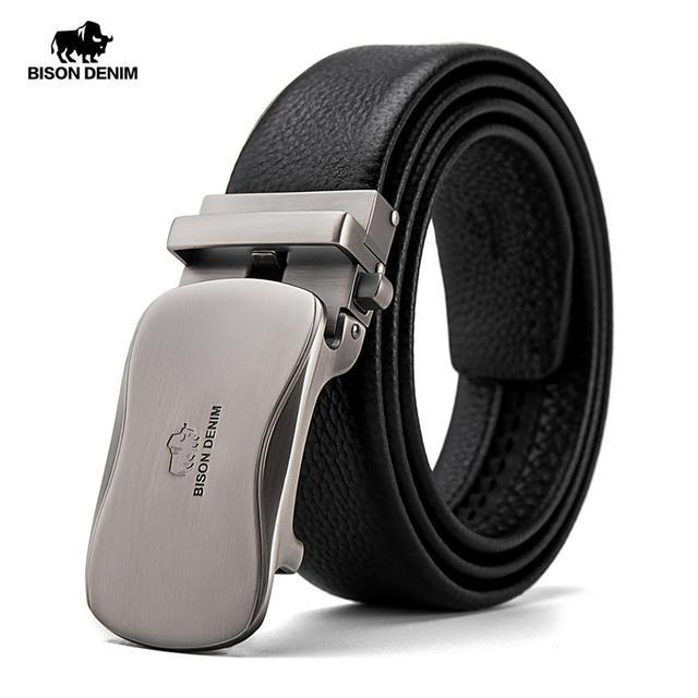 ביזון ינס אמיתי עור גברים חגורת זכר רצועת החגורה אוטומטית יוקרה רצועת גבוהה באיכות אופנה שחור חגורת לגברים מותג n71483