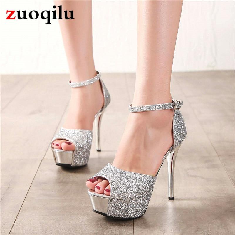 Silver Platform High Heels Women Pumps Strap Peep Toe Wedding Shoes Nightclub Party Shoes Ladies Thin Heels Shoes Tacones Mujer