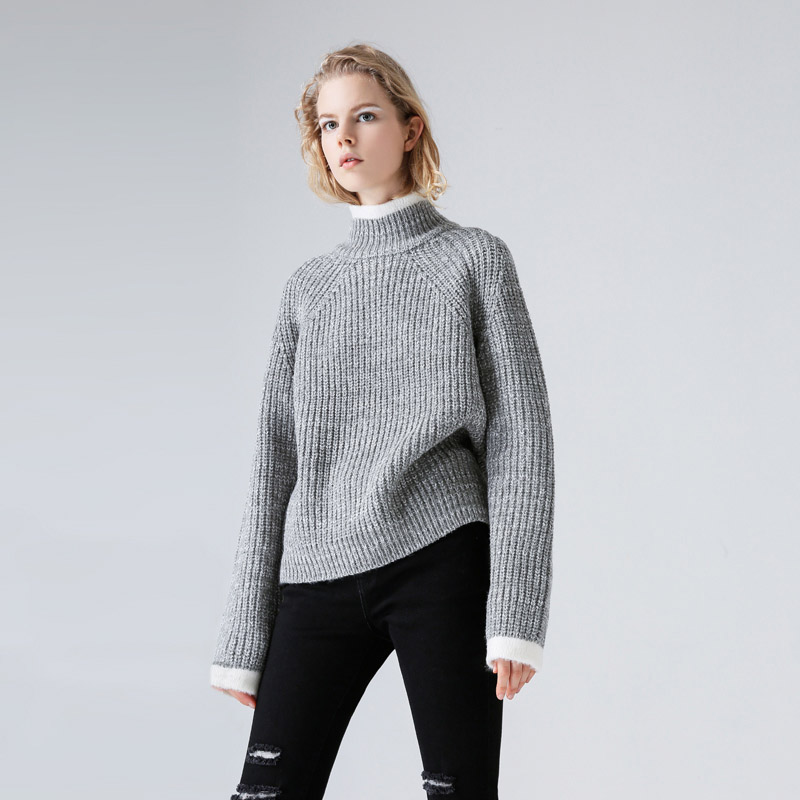 e1c0bef510db6 Toyouth Color Block Knit Jumper Autumn Winter Womens Pullover Sweater Grey  Stand Collar Long Sleeve women sweaters and pullovers-in Pullovers from  Women s ...