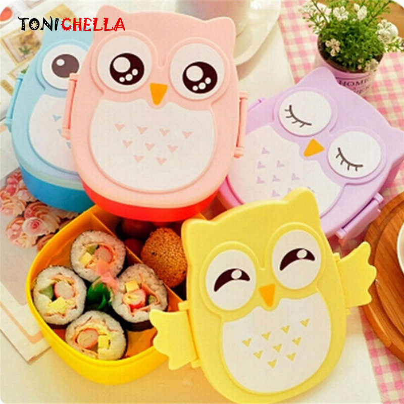 Cartoon Baby Food Storage Owl Lunch Box Food Fruit Storage Container Portable Children Bento Safe Picnic Food Container BB5065