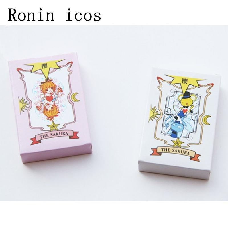 Anime 54 pièces Cosplay carte Captor Sakura KINOMOTO Tarot avec Clow cartes Poker livre magique ensemble dans la boîte accessoire cadeau cartes à jouer Des