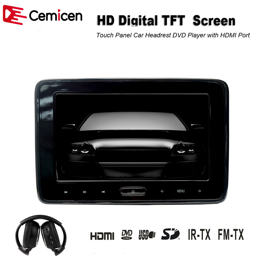 Pair 10 1 inch 1024 600 car headrest dvd player usb sd hdmi ir fm tft - Cemicen 10 1 Inch Car Dvd Player Car Headrest Monitor With Touch Screen Support Hd 1080p Usb Sd Hdmi Ir Fm Transmitter Game