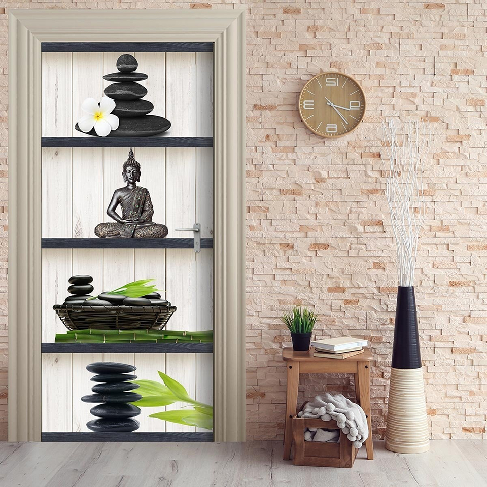 Home Decor DIY Door Sticker Buddha Flower Stone Self Adhesive Decal Paper For Living Room PVC Waterproof 3D Print Sticker Art