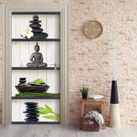 Home Decor DIY Door Sticker Buddha Flower Stone Self Adhesive Decal Paper for Living Room PVC Waterproof 3D Print Sticker Art
