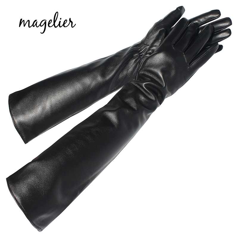 Magelier Women's Genuine Leather Gloves Fashion Brand New Touch Screen Long Gloves Keep Warm In Winter Real Sheepskin Gloves 079
