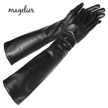 Magelier damskie oryginalne skórzane rękawiczki moda Brand New Touch Screen długie rękawiczki utrzymuj ciepło w zimie prawdziwe rękawice z owczej skóry 079 tanie tanio Natural Hagen Dla dorosłych WOMEN Prawdziwej skóry Stałe Elbow STL079 Winter S M L Black Sheepskin Fashion Warm Handmade