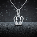 Free Shipping 100% 925 Sterling Silver Pendants For Women Necklace Crystal Crown Pendant Fine Jewelry SSP022