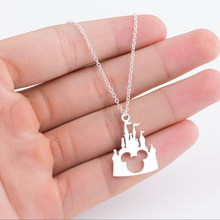 HOMOD Hots Stainless Steel Hollow Castle Mickey Head Charm Necklace Fairytale Castle Pendant Necklace Kids Accessories Gifts(China)