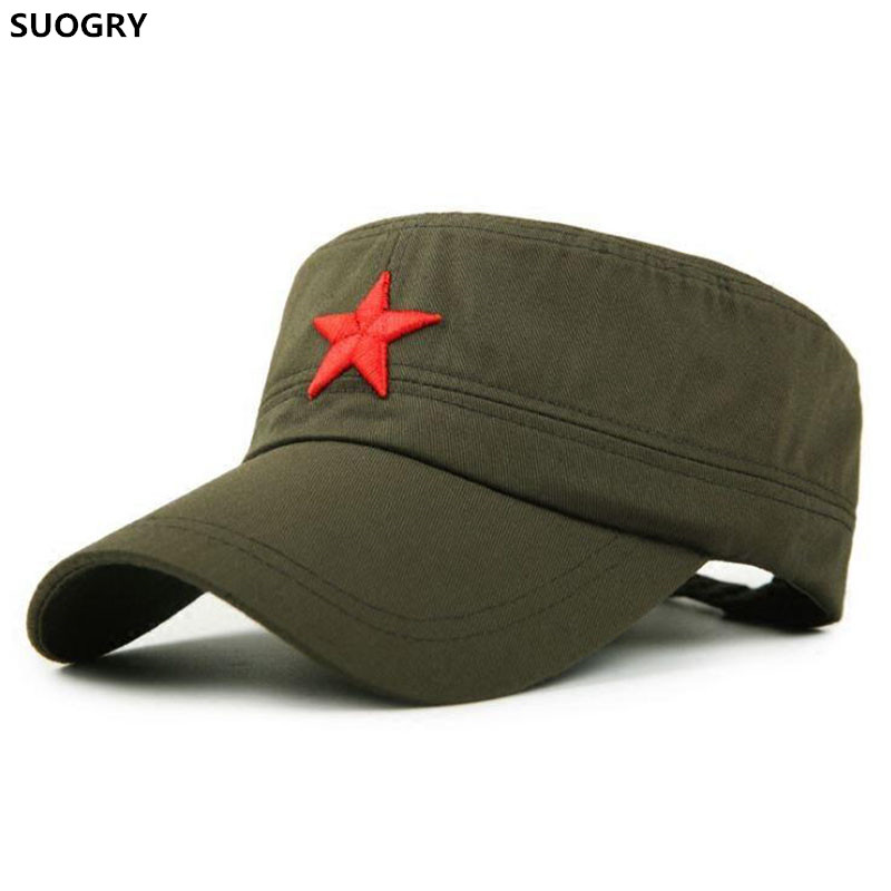 SUOGRY Military Cap Red Star Embroidery Cap Military Hat Army Green Flat Hats For Men Women Vintage Bone Male Female Army Sun Ha