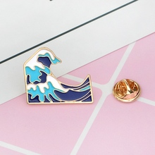 Blue waves brooch Enamel Pin buckle Cartoon Metal Brooch for Coat Jacket Bag Pin Badge Sea Jewelry Gift for Kids Girl Boy