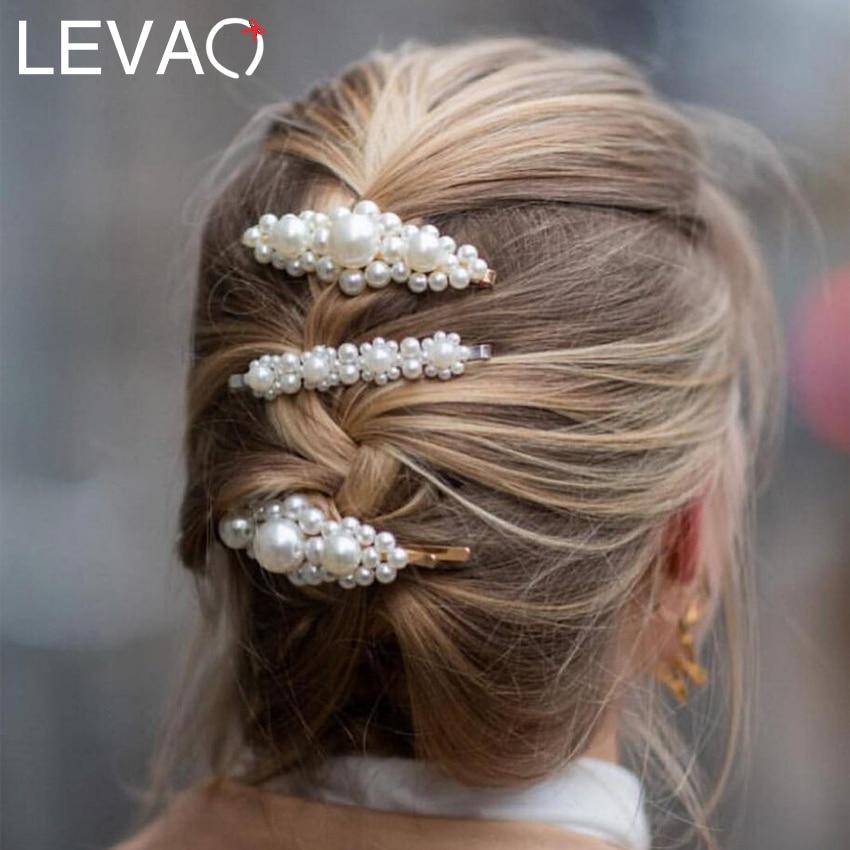 Levao 2019 New Women Hair Accessories Pearl Hair Clip Snap Pin Metal Geometric Alloy Hairpins Barrettes Hairgrip Barrette Girls