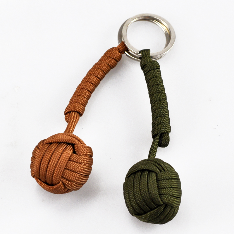 Outdoor Tactical Camping Security Protection Black Monkey Fist Steel Ball For Bearing Self Defense Lanyard Survival Key Chain