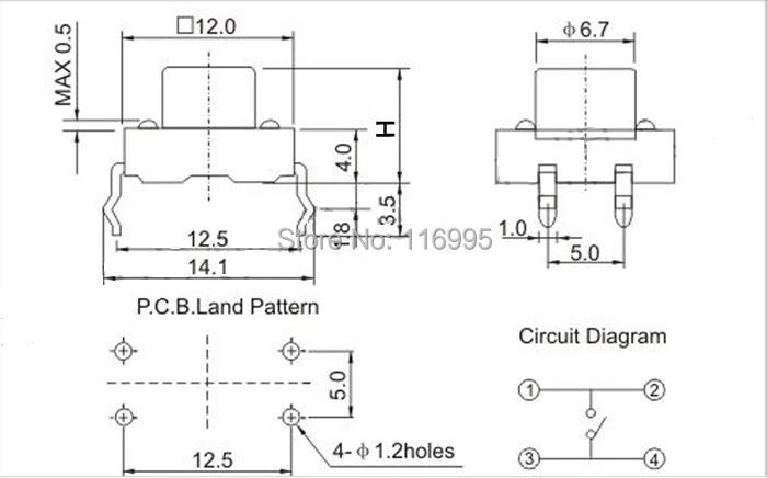 free shipping 30pcs dip 4pin tact switch 12x12x5 6 7 8 9 10 11 12 13 4 pin fan diagram free shipping dip 4pin tact switch 12x12x12mm 30pcs